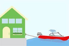 An illustration of a house and boat